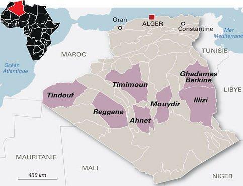 Carte du gaz de schiste en Algérie. Source : http://algerienetwork.com/algerie/