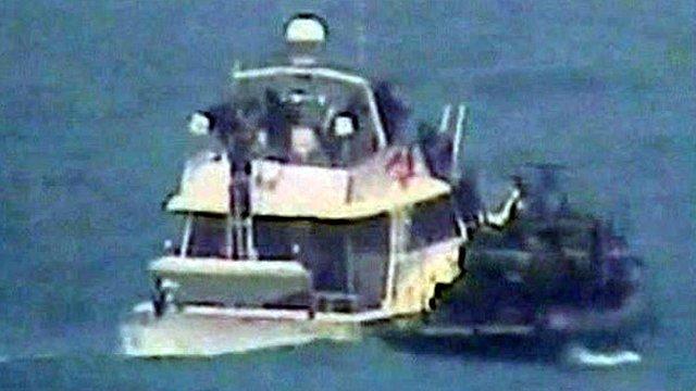 Le Dignité-Al-Karama arraisonné par la marine israélienne. Source : http://www.freepalestinemovement.org